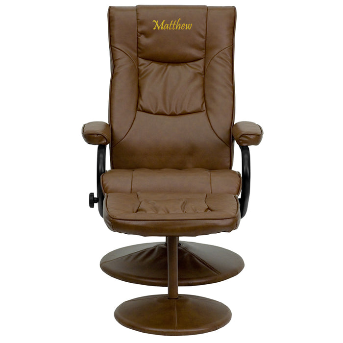 Flash Furniture BT-7862-PALIMINO-TXTEMB-GG Personalized Contemporary Palimino Leather Recliner and Ottoman with Leather Wrapped Base