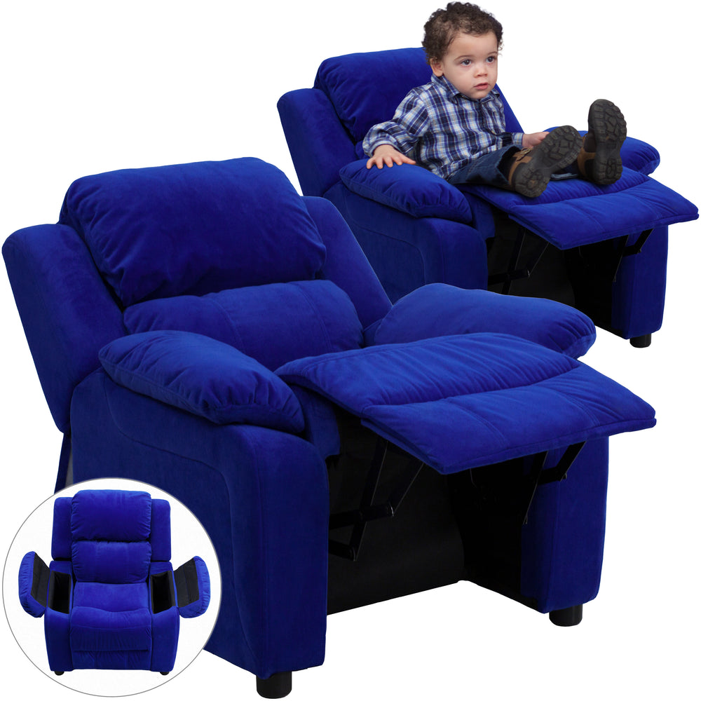 Flash Furniture BT-7985-KID-MIC-BLUE-GG Deluxe Padded Contemporary Blue Microfiber Kids Recliner with Storage Arms