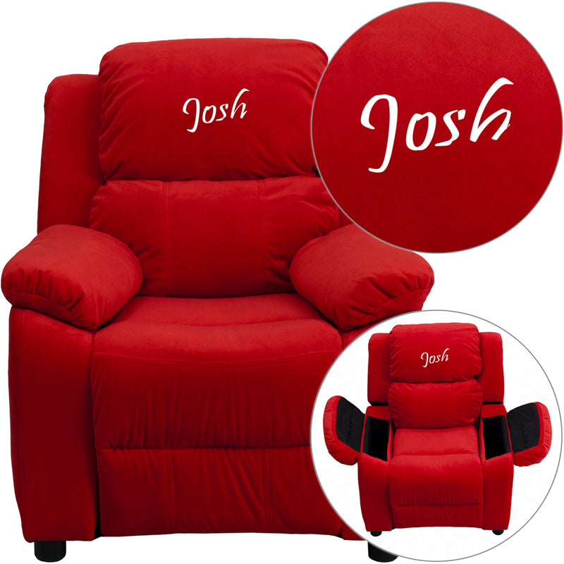 Flash Furniture BT-7985-KID-MIC-RED-TXTEMB-GG Personalized Deluxe Padded Red Microfiber Kids Recliner with Storage Arms