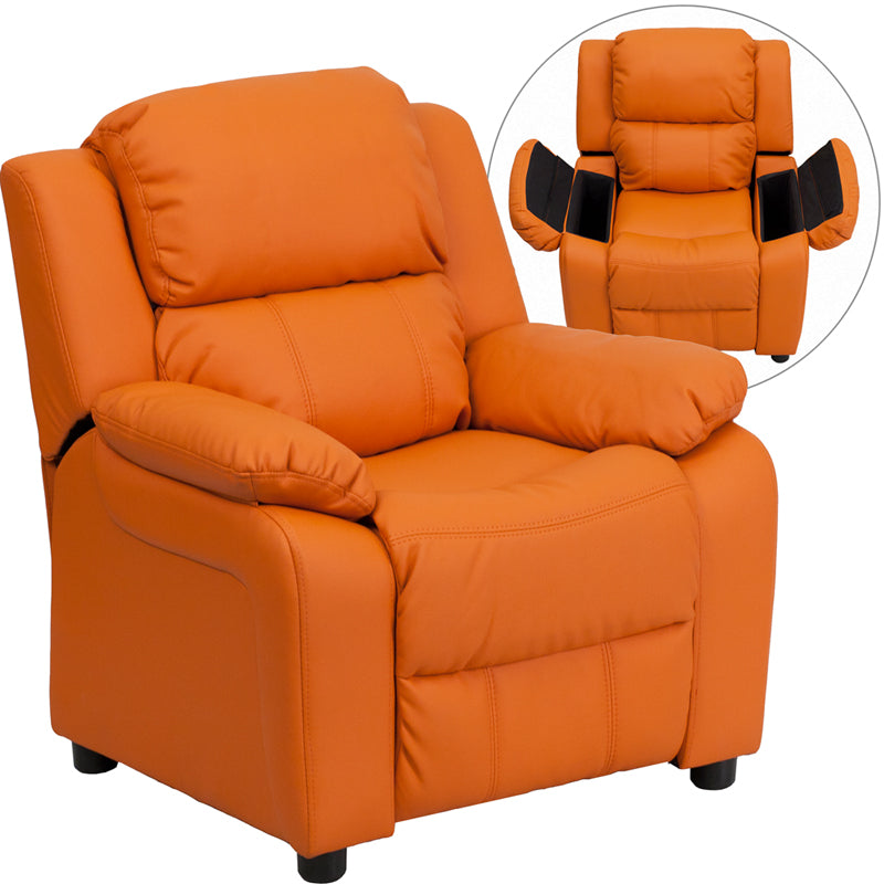 Flash Furniture BT-7985-KID-ORANGE-GG Deluxe Padded Contemporary Orange Vinyl Kids Recliner with Storage Arms