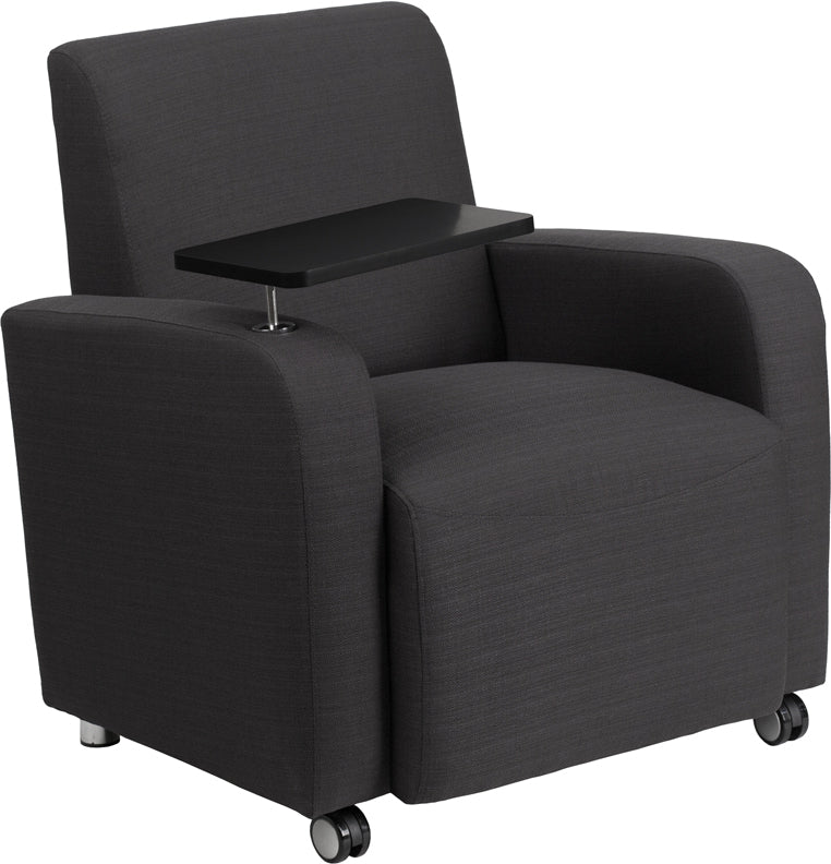 Flash Furniture BT-8217-GY-CS-GG Gray Fabric Guest Chair with Tablet Arm and Front Wheel Casters