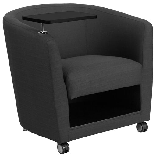 Flash Furniture BT-8220-GY-CS-GG Charcoal Gray Fabric Guest Chair with Tablet Arm, Front Wheel Casters and Under Seat Storage