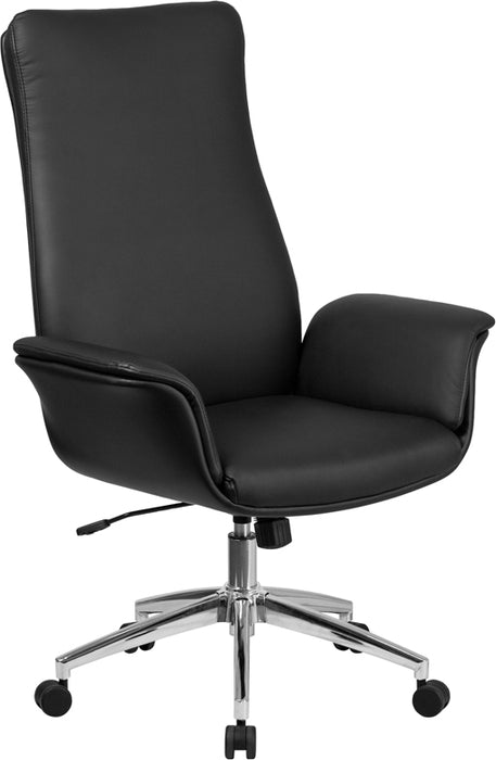 Flash Furniture BT-88-BK-GG High Back Black Leather Executive Swivel Chair with Flared Arms