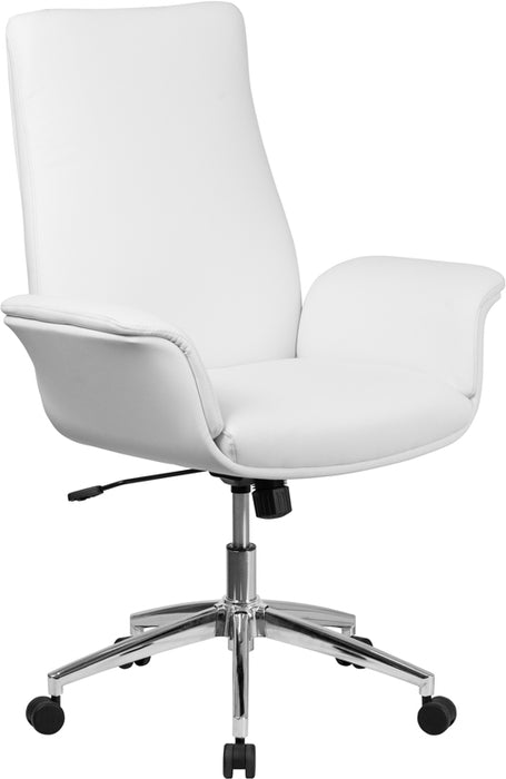Flash Furniture BT-88-MID-WH-GG Mid-Back White Leather Executive Swivel Chair with Flared Arms