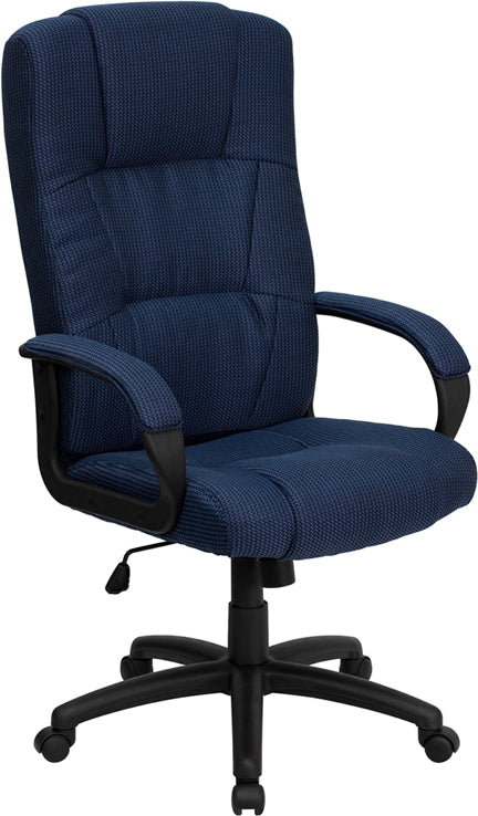 Flash Furniture BT-9022-BL-GG High Back Navy Blue Fabric Executive Swivel Chair with Arms