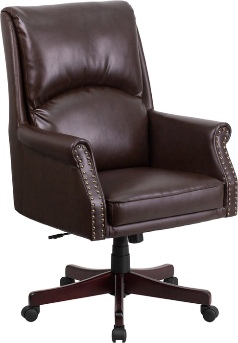 Flash Furniture BT-9025H-2-BN-GG High Back Pillow Back Brown Leather Executive Swivel Chair with Arms