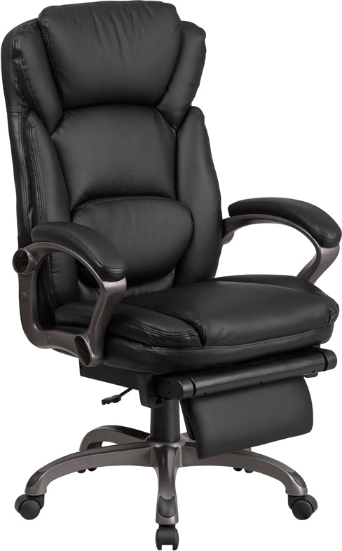 Flash Furniture BT-90279H-GG High Back Black Leather Executive Reclining Swivel Chair with Arms