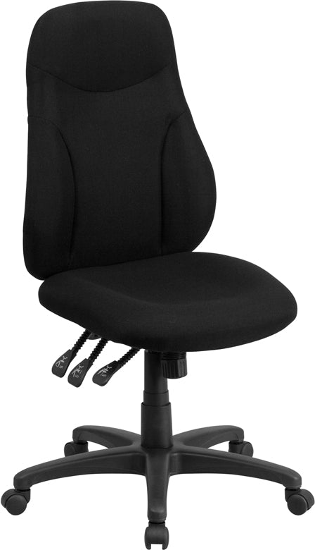 Flash Furniture BT-90297H-GG High Back Black Fabric Multifunction Ergonomic Swivel Task Chair