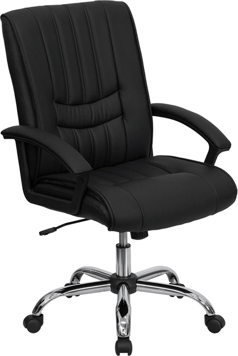 Flash Furniture BT-9076-BK-GG Mid-Back Black Leather Swivel Manager's Chair with Arms