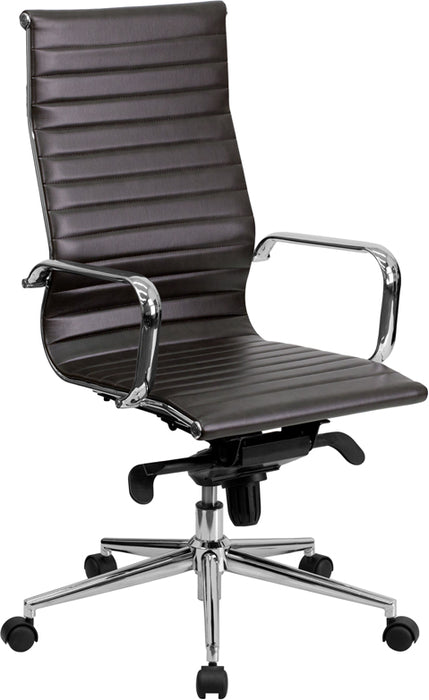 Flash Furniture BT-9826H-BRN-GG High Back Brown Ribbed Leather Executive Swivel Chair with Knee-Tilt Control and Arms