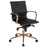 Flash Furniture BT-9826M-BK-GD-GG Mid-Back Black Ribbed Leather Executive Swivel Chair with Gold Frame, Knee-Tilt Control and Arms