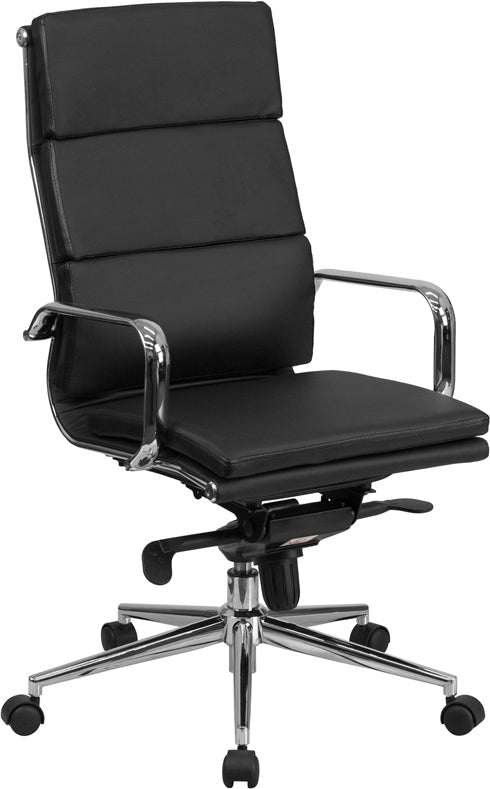 Flash Furniture BT-9895H-6-BK-GG High Back Black Leather Executive Swivel Chair with Synchro-Tilt Mechanism and Arms