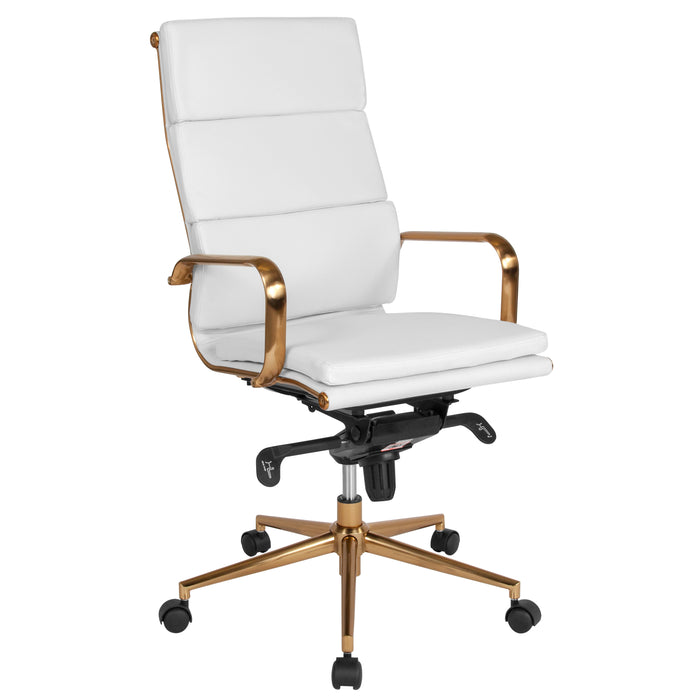 Flash Furniture BT-9895H-6-WH-GD-GG High Back White Leather Executive Swivel Chair with Gold Frame, Synchro-Tilt Mechanism and Arms