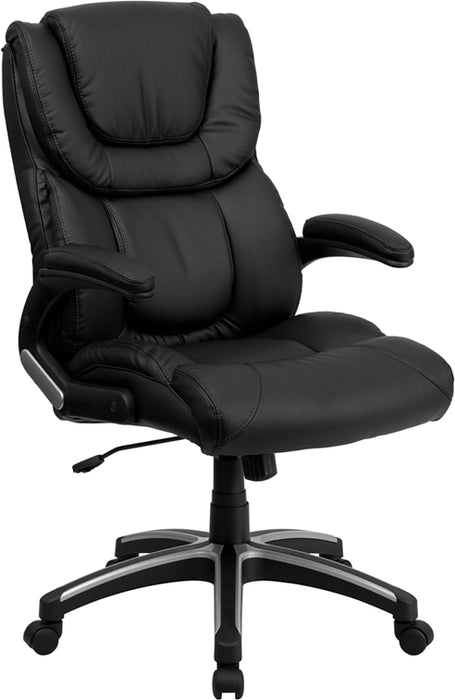 Flash Furniture BT-9896H-GG High Back Black Leather Executive Swivel Chair with Arms