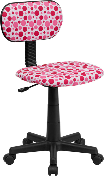 Flash Furniture BT-D-PK-GG Pink Dot Printed Swivel Task Chair
