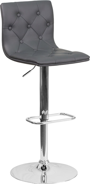 Flash Furniture CH-112080-GY-GG Contemporary Tufted Gray Vinyl Adjustable Height Barstool with Chrome Base