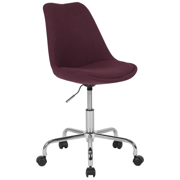 Flash Furniture CH-152783-PU-GG Aurora Series Mid-Back Purple Fabric Task Chair with Pneumatic Lift and Chrome Base