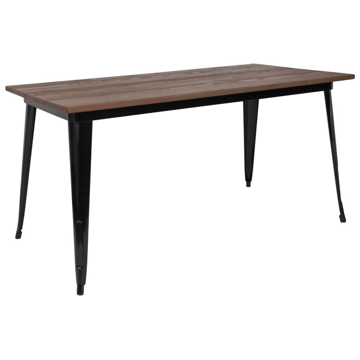 "Flash Furniture CH-61010-29M1-BK-GG 30.25"" x 60"" Rectangular Black Metal Indoor Table with Walnut Rustic Wood Top"