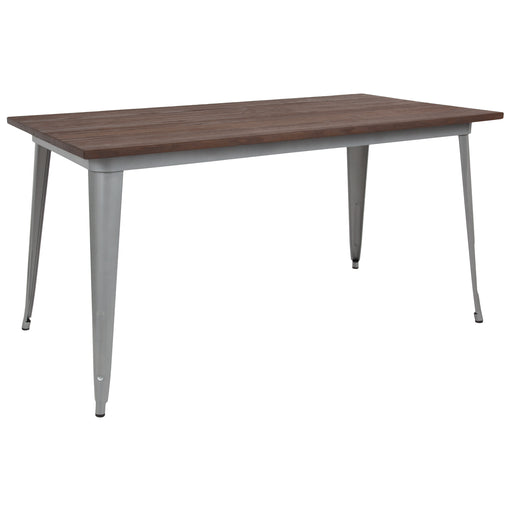 "Flash Furniture CH-61010-29M1-SIL-GG 30.25"" x 60"" Rectangular Silver Metal Indoor Table with Walnut Rustic Wood Top"