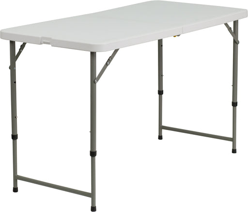 Flash Furniture DAD-YCZ-122Z-2-GG 24''W x 48''L Height Adjustable Bi-Fold Granite White Plastic Folding Table