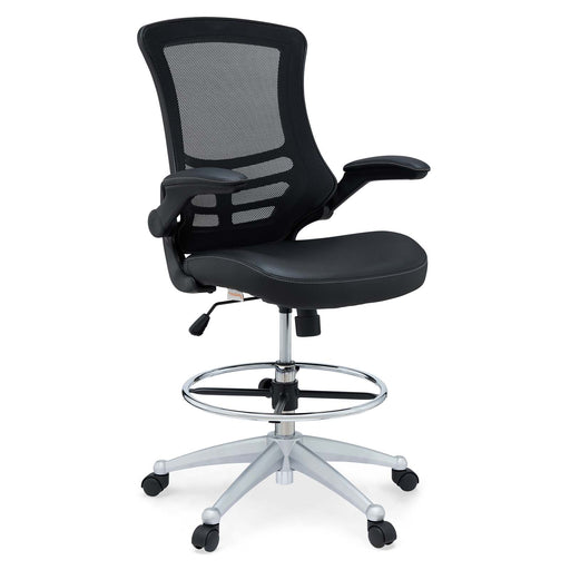 Attainment Vinyl Drafting Chair in Black by Modway
