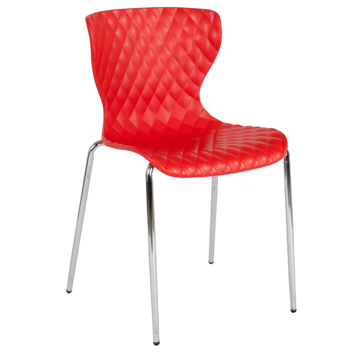 Flash Furniture LF-7-07C-RED-GG Lowell Contemporary Design Red Plastic Stack Chair
