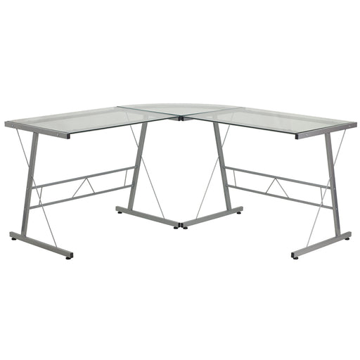 Flash Furniture NAN-CD-22181-GG Glass L-Shape Computer Desk with Silver Metal Frame