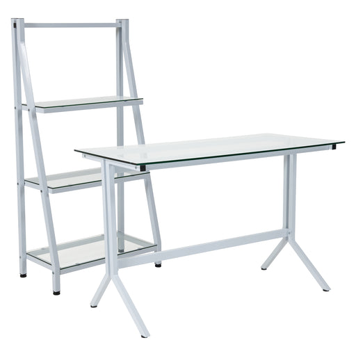 Flash Furniture NAN-CEK-36-GG Winfield Collection Glass Computer Desk and Bookshelf with White Metal Frame