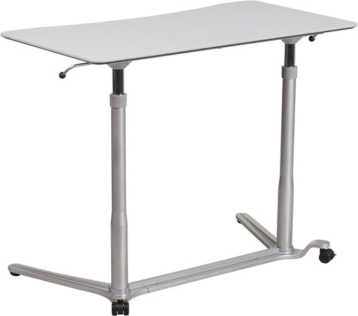 Flash Furniture NAN-IP-6-1-GG Sit-Down, Stand-Up Light Gray Computer Desk with 37.375''W Top (Adjustable Range 29'' - 40.75'')