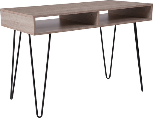 Flash Furniture NAN-JH-1758-GG Franklin Oak Wood Grain Finish Computer Table with Black Metal Legs