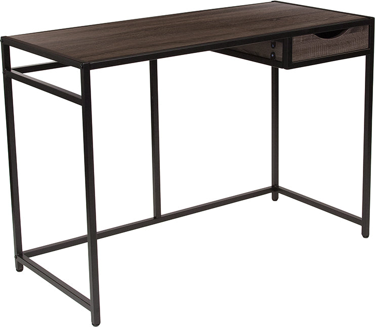 Flash Furniture NAN-JN-21706T-GG Homewood Collection Driftwood Finish Computer Desk with Pull-Out Drawer and Black Metal Frame