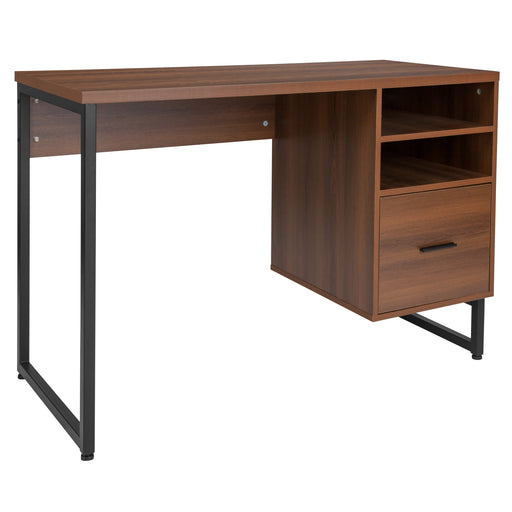 Flash Furniture NAN-JN-21743D-GG Lincoln Collection Computer Desk in Rustic Wood Grain Finish