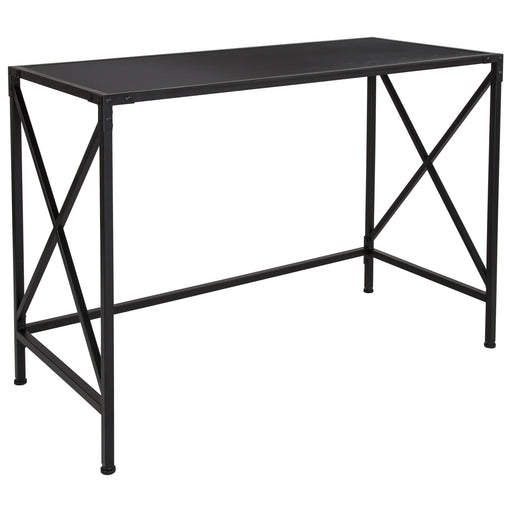 Flash Furniture NAN-JN-21801WD-GG Tiverton Collection Industrial Style Computer Desk in Dark Ash