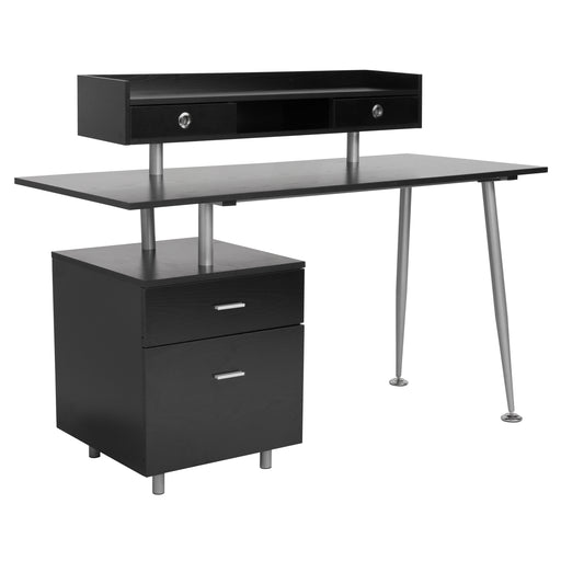 Flash Furniture NAN-JN-2339-G-GG Piedmont Home and Office Desk with 2 Drawers and Top Storage Shelf in Dark Ash Finish