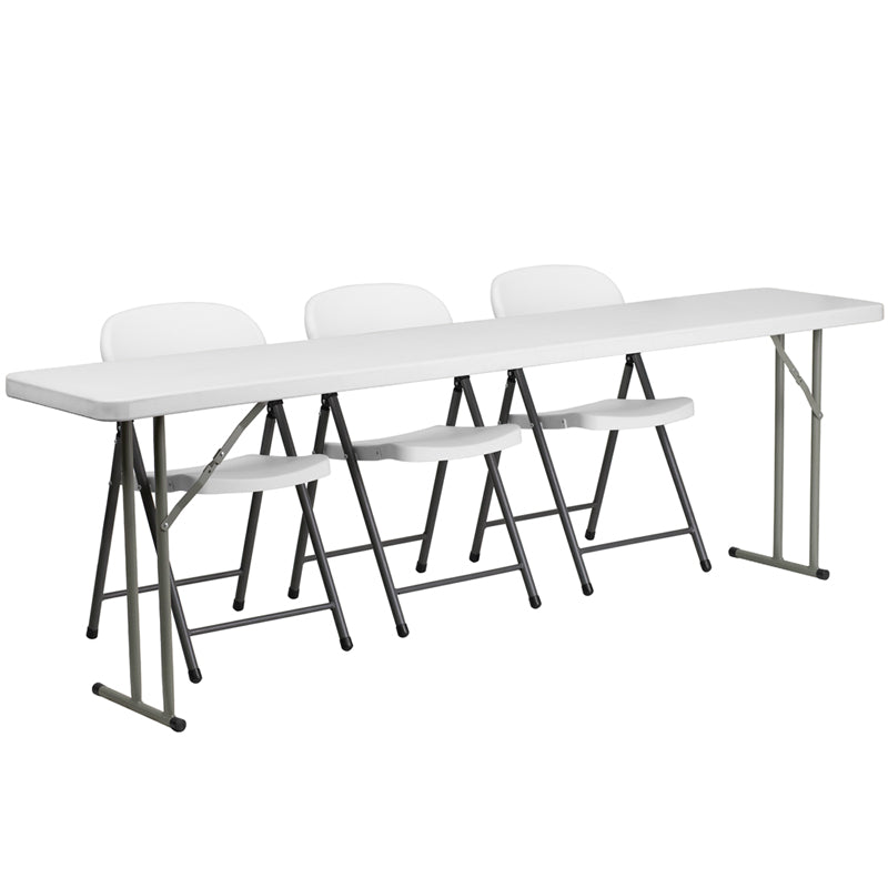 Flash Furniture RB-1896-2-GG 18'' x 96'' Plastic Folding Training Table Set with 3 White Plastic Folding Chairs