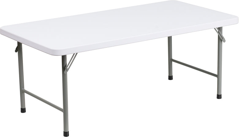 Flash Furniture RB-2448-KID-GG 24''W x 48''L x 19''H Kid's Granite White Plastic Folding Table