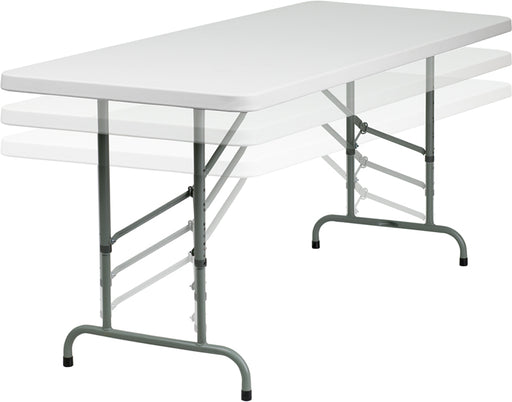 Flash Furniture RB-3072ADJ-GG 30''W x 72''L Height Adjustable Granite White Plastic Folding Table