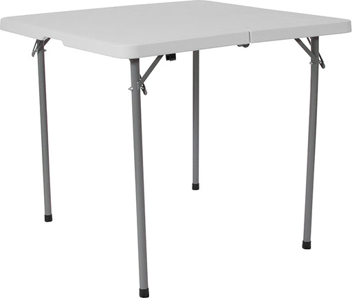 Flash Furniture RB-3434FH-GG 34'' Square Bi-Fold Granite White Plastic Folding Table with Carrying Handle