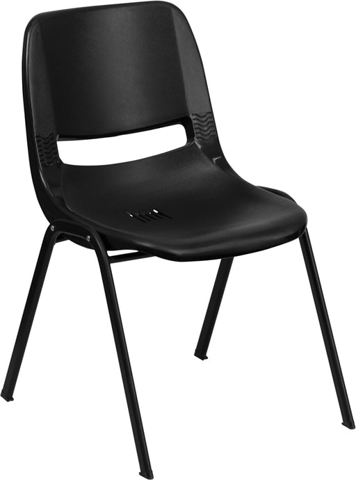 Flash Furniture RUT-16-PDR-BLACK-GG HERCULES Series 661 lb. Capacity Black Ergonomic Shell Stack Chair with Black Frame and 16'' Seat Height