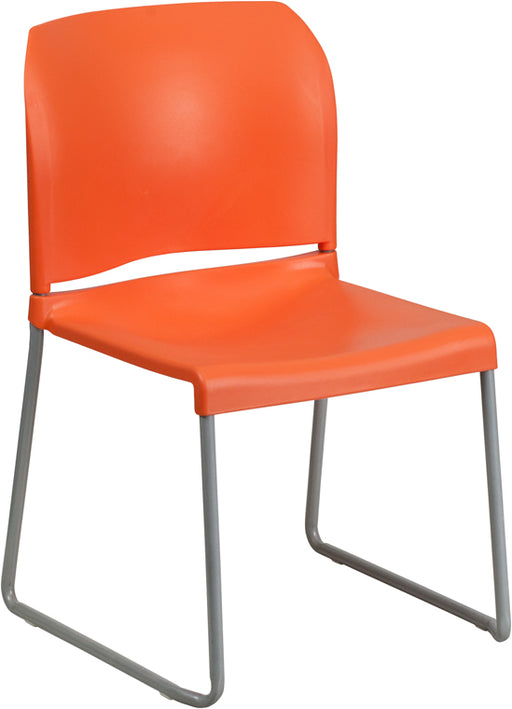 Flash Furniture RUT-238A-OR-GG HERCULES Series 880 lb. Capacity Orange Full Back Contoured Stack Chair with Sled Base,