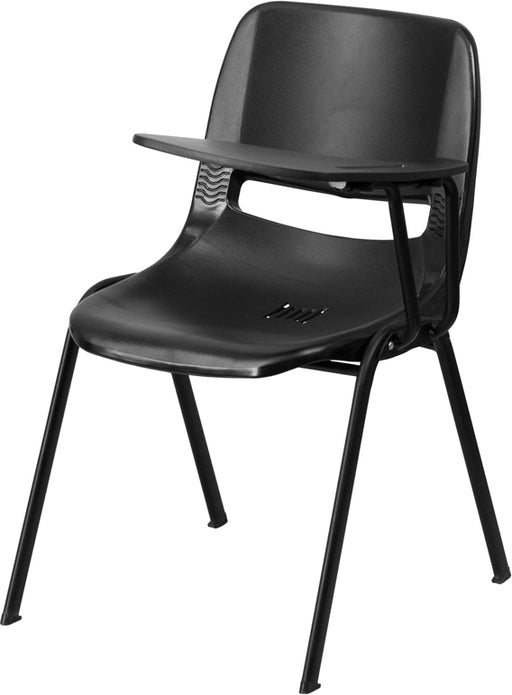 Flash Furniture RUT-EO1-BK-LTAB-GG Black Ergonomic Shell Chair with Left Handed Flip-Up Tablet Arm