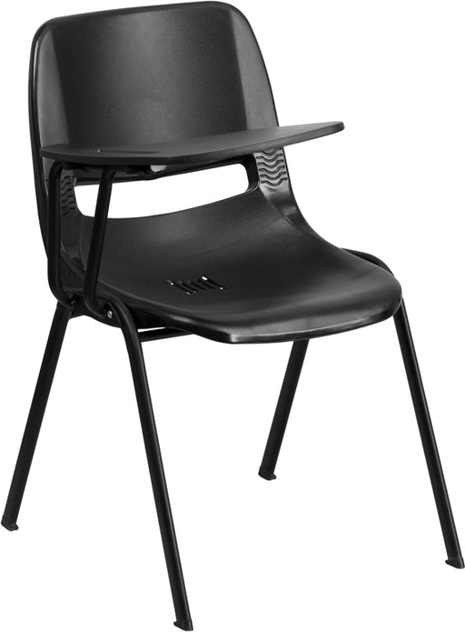 Flash Furniture RUT-EO1-BK-RTAB-GG Black Ergonomic Shell Chair with Right Handed Flip-Up Tablet Arm