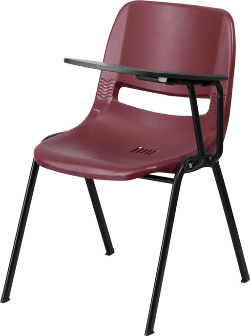 Flash Furniture RUT-EO1-BY-LTAB-GG Burgundy Ergonomic Shell Chair with Left Handed Flip-Up Tablet Arm