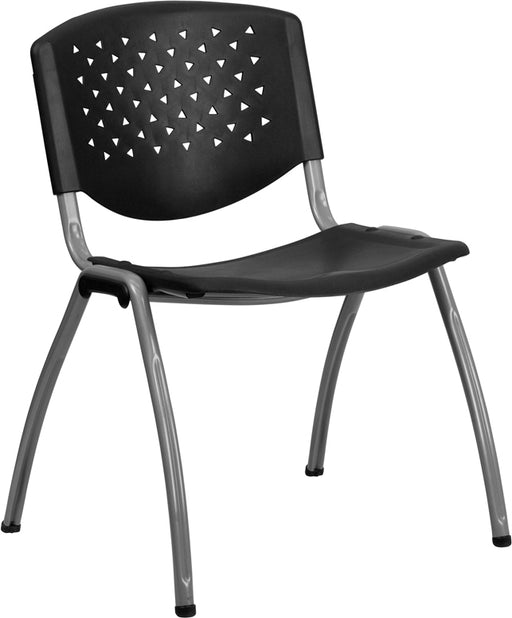 Flash Furniture RUT-F01A-BK-GG HERCULES Series 880 lb. Capacity Black Plastic Stack Chair with Titanium Frame