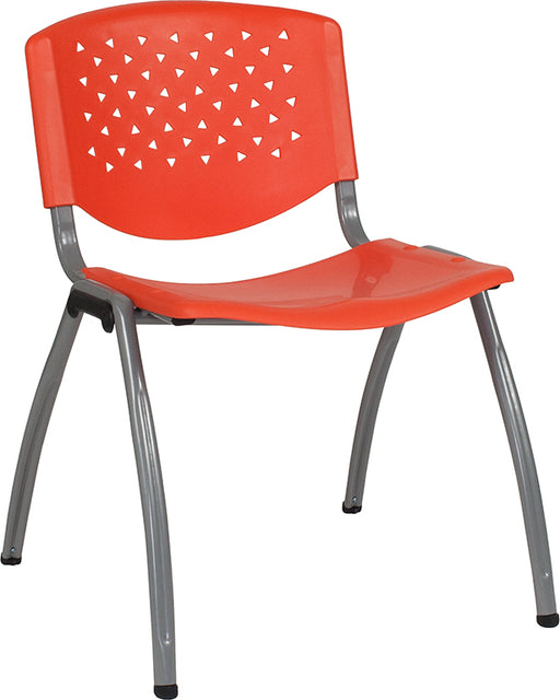 Flash Furniture RUT-F01A-OR-GG HERCULES Series 880 lb. Capacity Orange Plastic Stack Chair with Titanium Frame