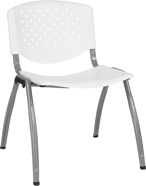 Flash Furniture RUT-F01A-WH-GG HERCULES Series 880 lb. Capacity White Plastic Stack Chair with Titanium Frame