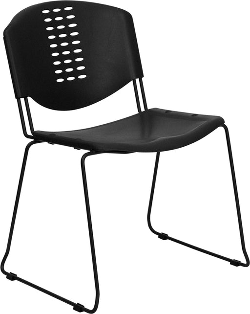 Flash Furniture RUT-NF02-BK-GG HERCULES Series 400 lb. Capacity Black Plastic Stack Chair with Black Frame