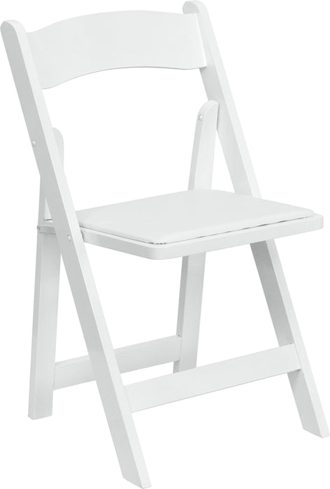 Flash Furniture XF-2901-WH-WOOD-GG HERCULES Series White Wood Folding Chair with Vinyl Padded Seat