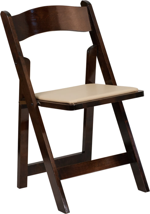 Flash Furniture XF-2903-FRUIT-WOOD-GG HERCULES Series Fruitwood Wood Folding Chair with Vinyl Padded Seat