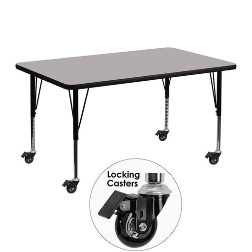 Flash Furniture XU-A3048-REC-GY-T-P-CAS-GG Mobile 30''W x 48''L Rectangular Grey Thermal Laminate Activity Table - Height Adjustable Short Legs